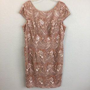 Semi formal bridal blush sequin lace dress-16W
